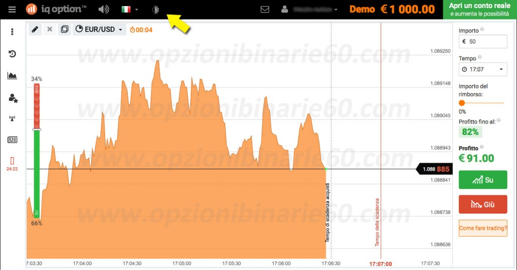 IQ Option versione chiara
