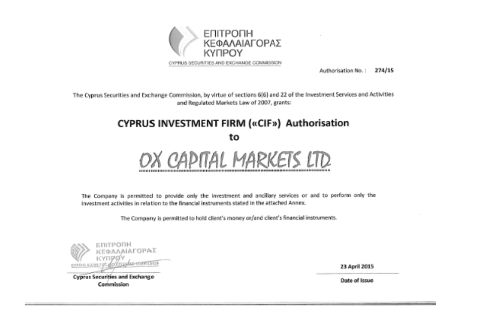 OX Capital Markets CySEC